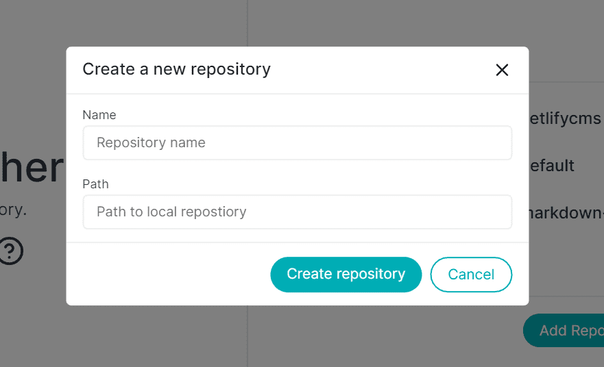 Create new repository modal